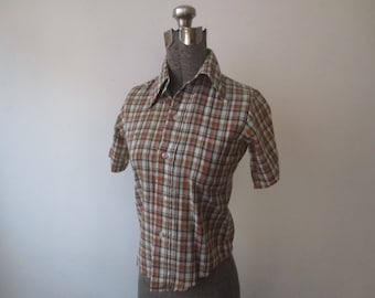 Vintage '70s Montgomery Ward Brown Plaid Cotton/Poly Button Down, Kind of Ratty But Awesome! Women's XS, Kids Sz 10