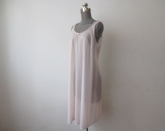 Vintage  60s Van Raalte Pale Pink Nylon Seriously Simple A-Line Tank  Nightgown 9d340e91a