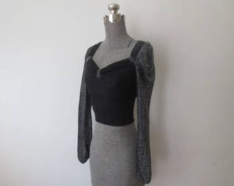 Vintage '70s Super Glam Stretchy Crop Top w/ Sparkly Silver Lame Balloon Sleeves, Small