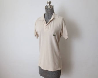 b6f77982bf8c2b Vintage  70s Chemise Lacoste 100% Cotton Beige Long Tail Polo