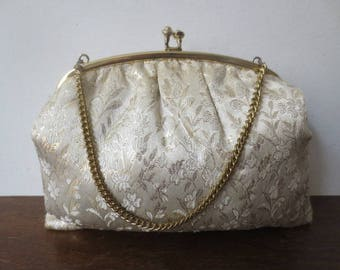 Vintage '50s/'60s Plush Gold Brocade Kiss Lock Purse w/ Gold Chain Handle