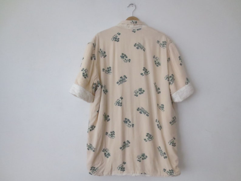 Size Large Coverup Flamingos Terrycloth Lined Robe  Beach Shirt Vintage /'50s Novelty Print Race Track