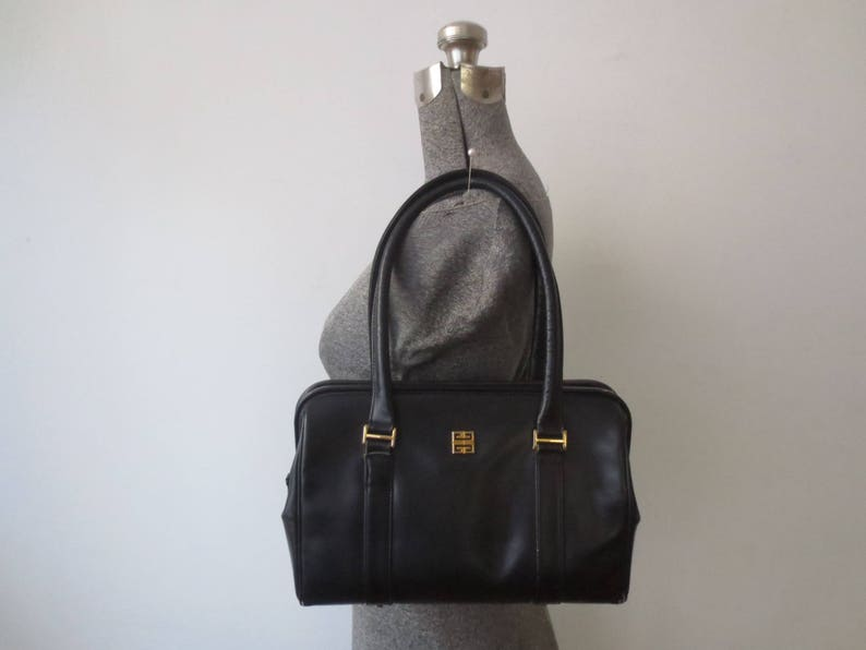 6578c625fe Vintage  70s  80s GIVENCHY Black Leather Top Handle