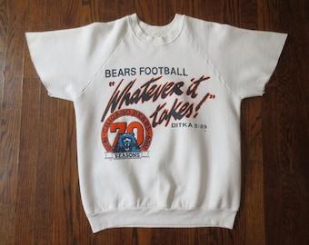 "Vintage '80s Chicago Bears Football Sweatshirt, Ditka ""Whatever It Takes!"" Fruit of the Loom, Large, Cut-Off Sleeves"