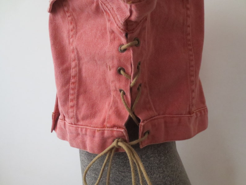 Short Sleeve w Side Laces Vintage /'80s Frederick/'s of Hollywood Jean Jacket Cropped Salmon Pink Large