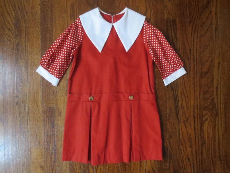 10-12 7-8 Huge Collar Mod Drop Waist /& Pleated Skirt Vintage /'60s/'70s Sisters Matching Dresses Polka Dot Sleeves