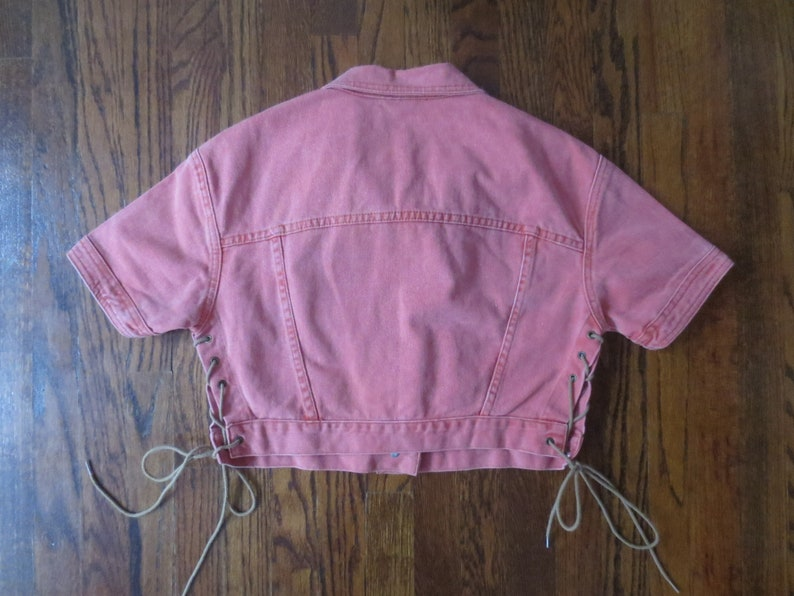 Vintage /'80s Frederick/'s of Hollywood Jean Jacket Cropped Salmon Pink Short Sleeve w Side Laces Large