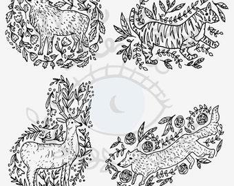 Wild Animal Clip Art - Set of 4