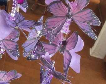 Purple Butterfly Mobile with 13 Three Dimensional Butterflies