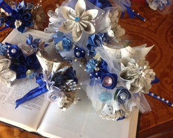 Origami Wedding Suite Two Alternative Sheet Music Bouquets and Two Corsages or Lapels Included