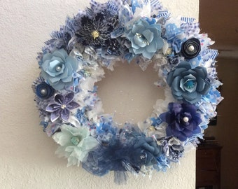 Fabric and Paper Flower Straw Wreath 16 inches