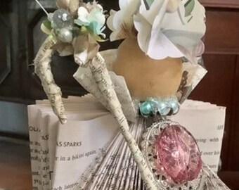 """Book Page Paper Sculpture entitled """"Devotion"""""""
