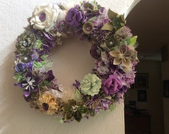 Origami Flower and Fabric Wreath Greens, Purples and Ivory 14 Inch