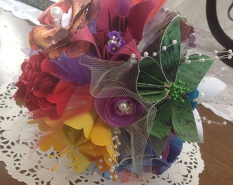 Rainbow Paper Flower Everlasting Bouquet Origami Style