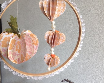 Victorian Pumpkin Fall Decoration 8 Inch Embroidery Hoop With Lace
