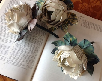 Book Page Origami Lotus Flowers 3 Included