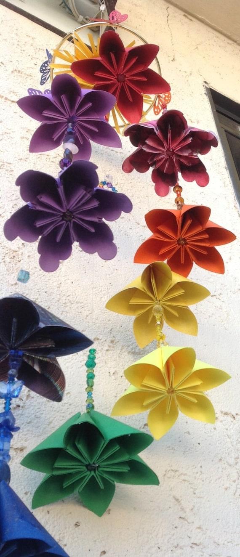 Rainbow Mobile Origami Flowers Etsy