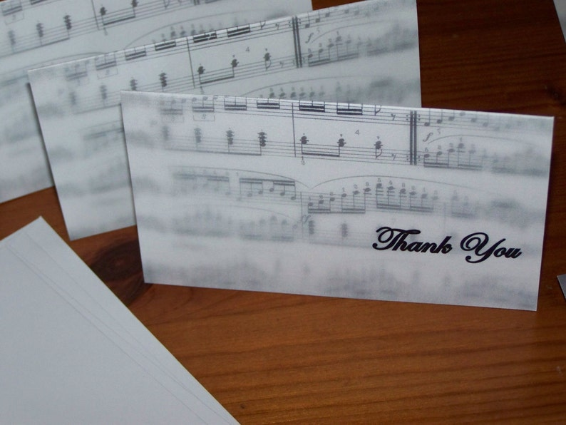 Sheet Music Thank You Note Pack Set of 10 With Envelopes