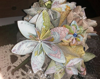 Personalized Map Flower Bouquet With 15 Origami Map Flowers
