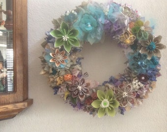 Origami Flower Wreath 12 Inches With Fabric Decor