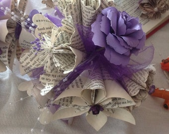 Origami Paper Flower Book Page Bouquet Customized With 7 Handmade Flowers