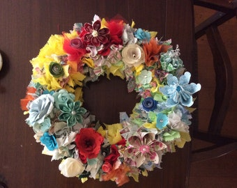 Origami Flower Wreath 10/12/14 Inch Diameter With Fabric Decor and 10-12 Origami Flowers