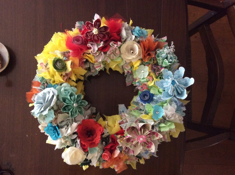 Origami Flower Wreath 10/12/14 Inch Diameter With Fabric Decor Summer Colors