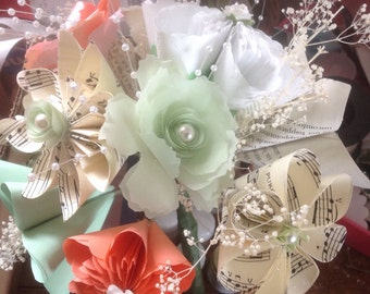 Paper Flower Bouquet Coral and Mint Designed by You
