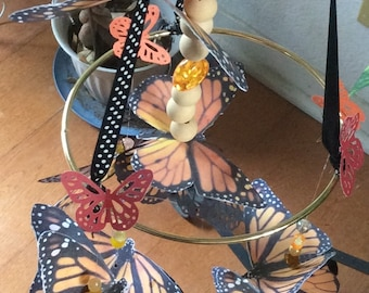 Monarch Butterfly Mobile A Perfect Birthday Gift  for A Nature Lover 13 Double Monarch Butterflies Included with Color Choices Made to Order
