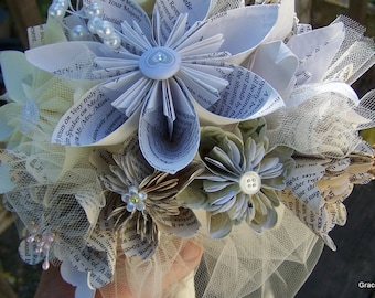 Origami Flower Bouquet With Book Page or Sheet Music Flowers 15 Included
