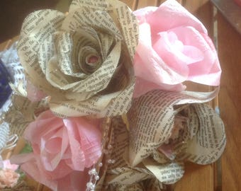 Jane Eyre Victorian Rose Book Page Bouquet