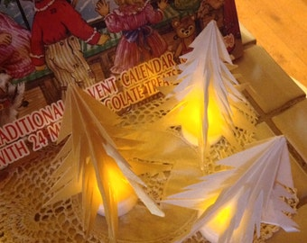 3 Origami Trees Plus Candles for Your Christmas Village Softly Lit Luminary Decorations With LED Candles