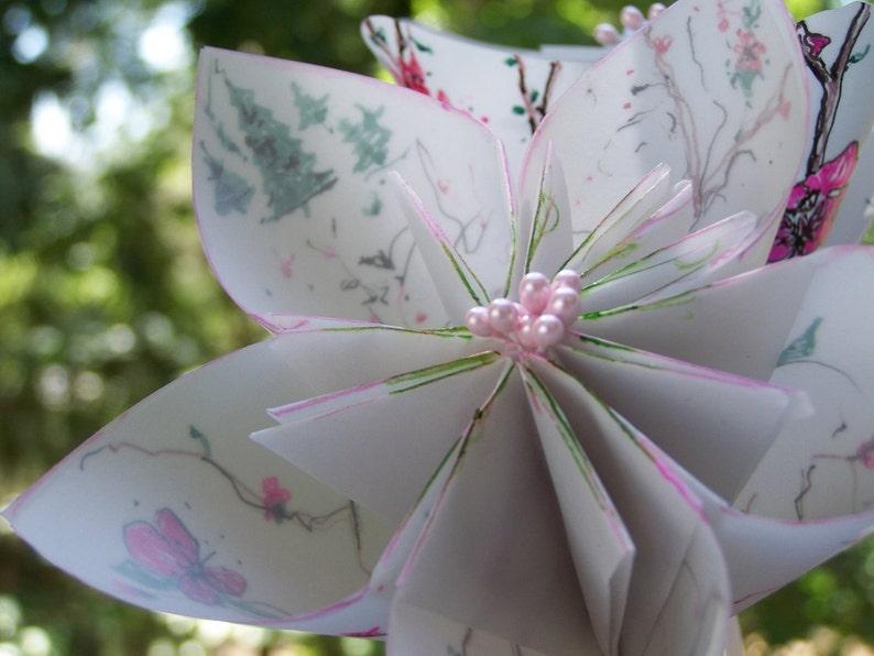 Cherry Blossom Origami Kusudama 3 Paper Flowers image 0