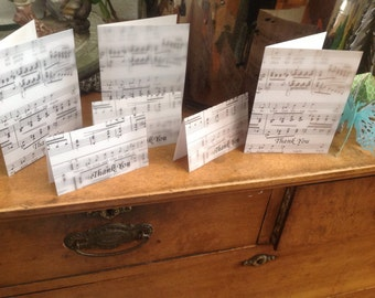Thank You Cards Sheet Music Theme Set of 12 A Perfect Birthday Gift for Music Teacher or Music Lover