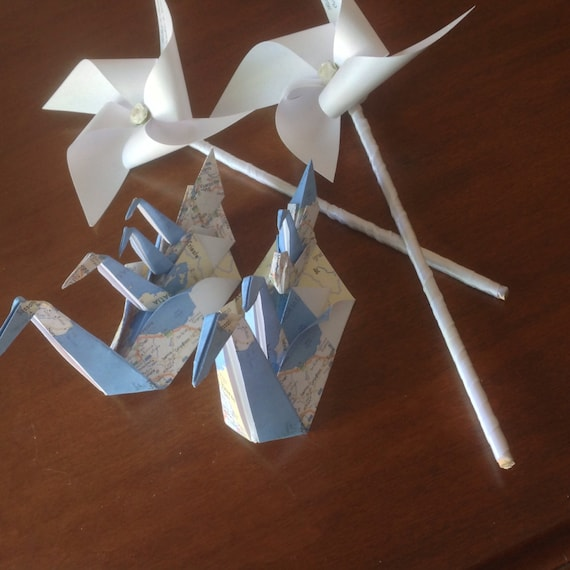 Origami Party Decorations 10 Origami Swans And 2 Personalized Etsy