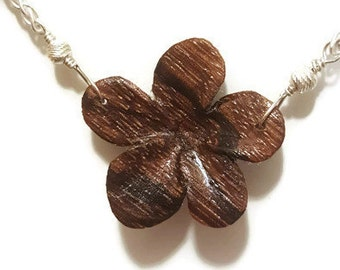 Zebrawood Flower Necklace - 18""