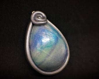 Tropfenförmige Mondstein Silber Lünette Halskette aus Fimo. Große Aussage Pendent