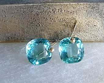 New! 14k Solid Gold Very Rare Aqua Blue Topaz Gemstone Solitaire Drop Earrings Minimal Gemstone Drop Earrings Gift For Her