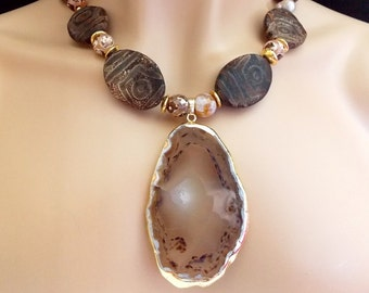 Natural Agate Pendant Tibetan Etched Agate Oval Necklace with Large Gold trimmed Natural Agate Pendant Bohemian Statement Necklace