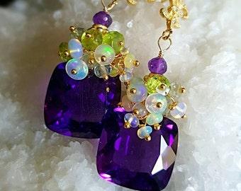 Amethyst Ethiopian Opal and Peridot Gemstone Cluster Fleur-de-lis Post Earrings