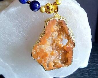 Large Orange Druzy Quartz Pendant Statement Necklace with Orange Chalcedony and Sodalite