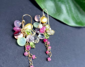 LAST PAIR  Summer Bouquet Pink Sapphire and Yellow Pearl Gemstone Cluster Earrings on Handformed Gold Filled Earwires Gift for Her
