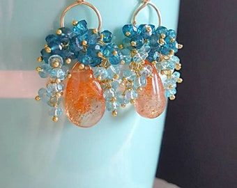 New! Sunstone Drops With Teal and Neon Apatite Gemstone Cluster Earrings on Gold Filled Wire Mothers Day Gift For Her