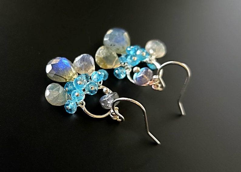 New Mini Chandiers Blueflash Labradorite and Swiss Blue Topaz image 0
