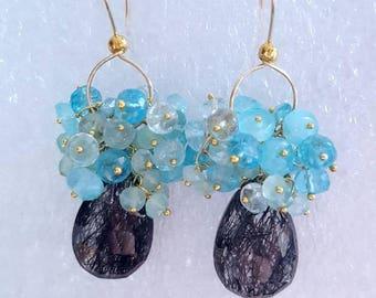 Tourmilated Crystal Quartz with Aqua Blue Moonstone Aqua Chalcedony And Aquamarine on Gold Fill Gift for Her