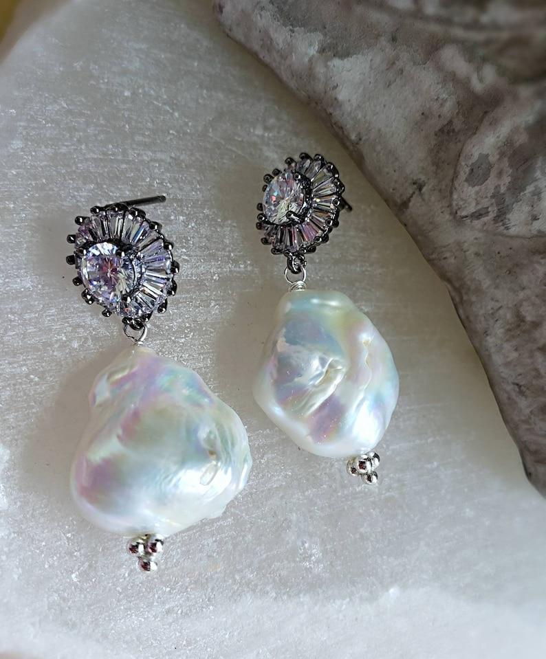 Large White Baroque Pearl Earrings on CZ Pave Posts Bridal image 0