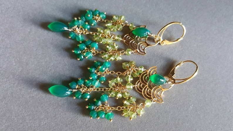 Green Gemstone Chandelier Earrings Peridot and Green Onyx image 0