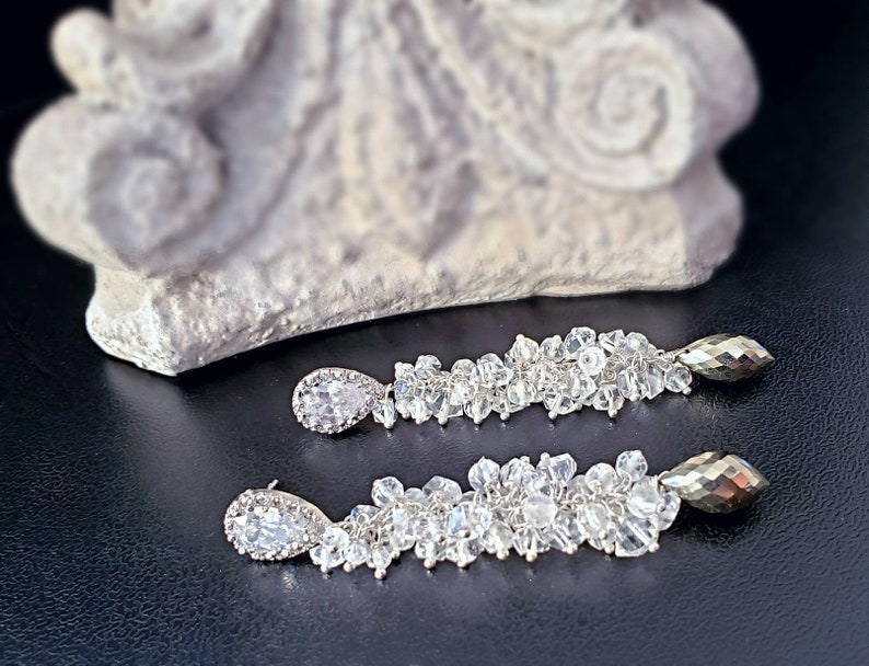 Pyrite Herkimer Diamonds and White Topaz Long Cluster image 0