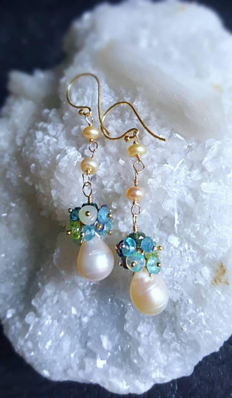 Freshwater Pearl Drop Gemstone Cluster Earrings Ethiopian Opal image 0