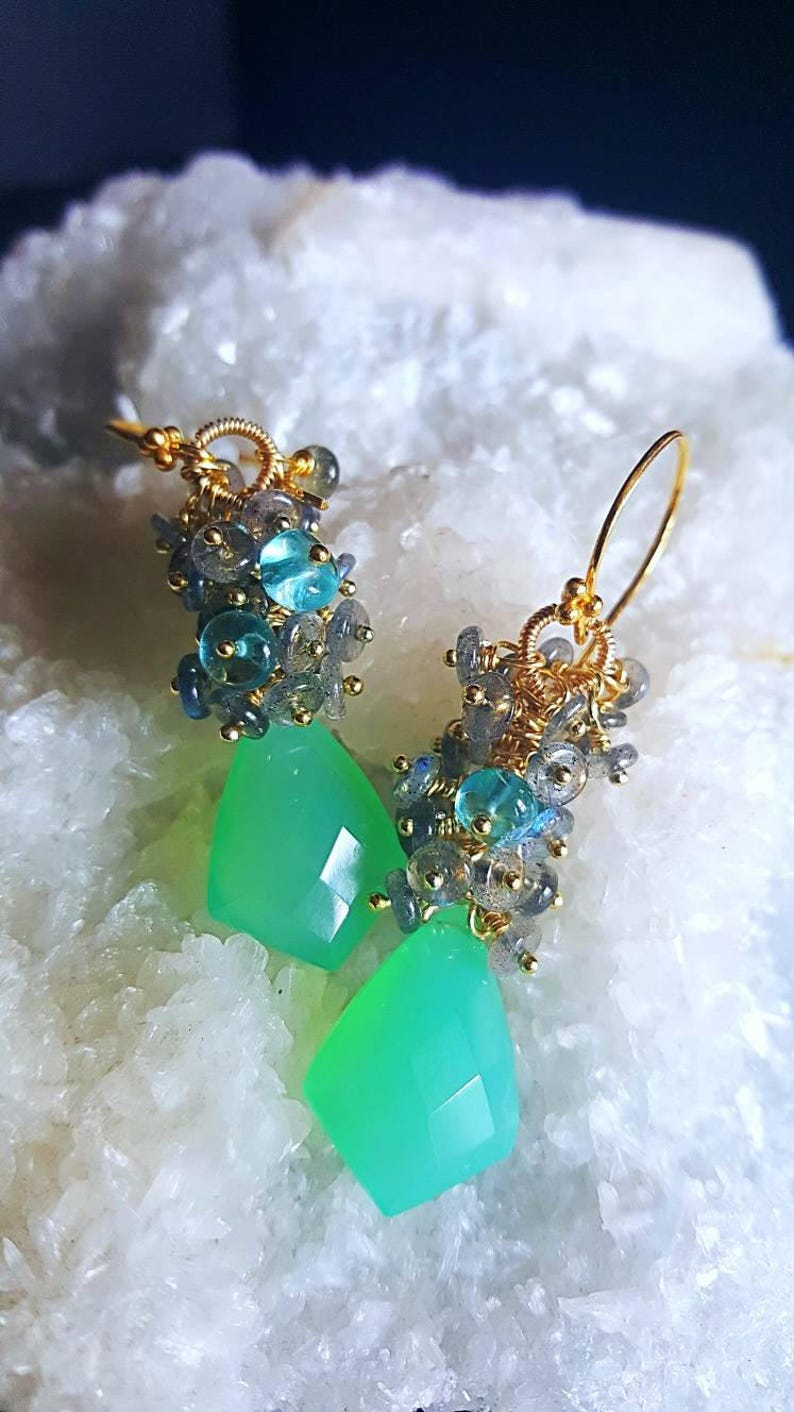Green Chalcedony with Blue Flash Labradorite and Neon Apatite image 0